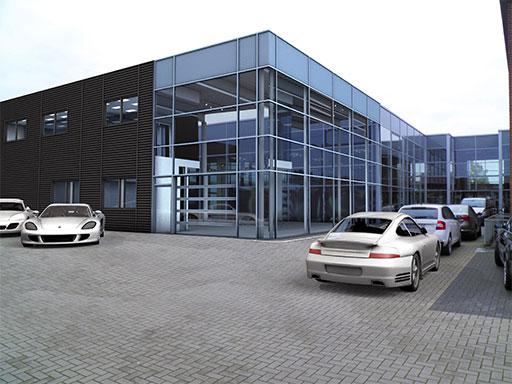 Visualisierung des neuen Porsche Zentrums Niederrhein.